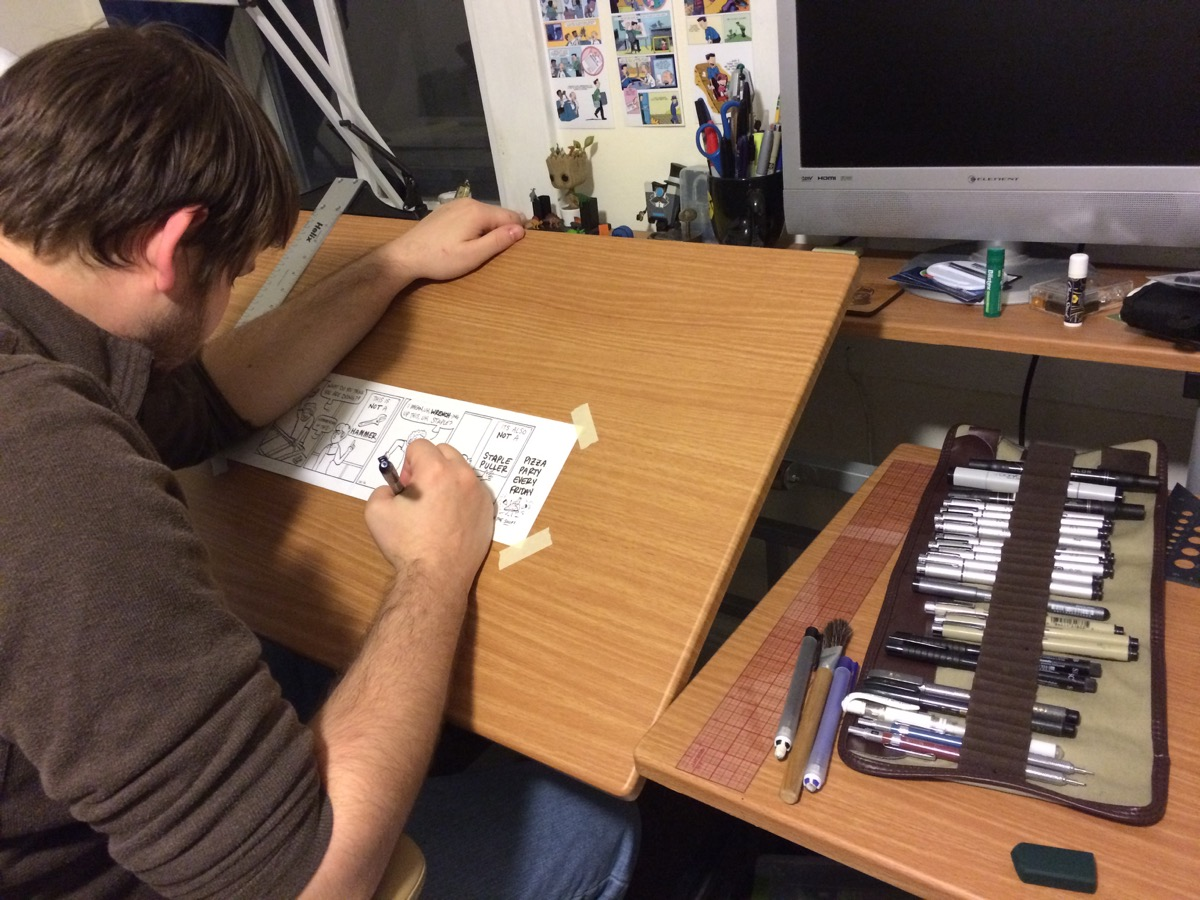 Steve Younkins working on a drawing for the Q2Q comic.