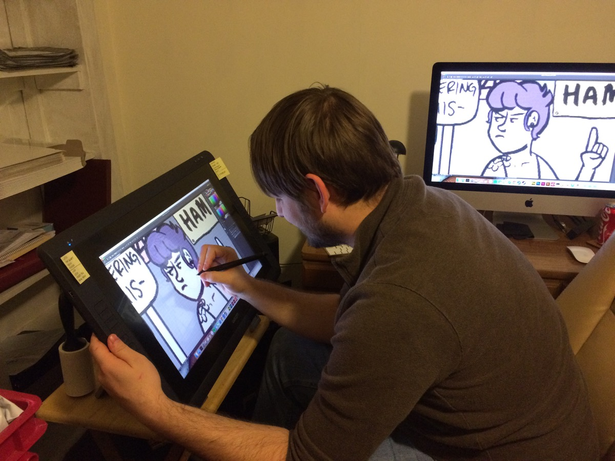 Once the comic is drawn, it's scanned and edited digitally before being posted online