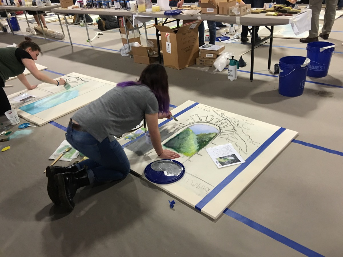 Students compete in the Scenic Painting Challenge.
