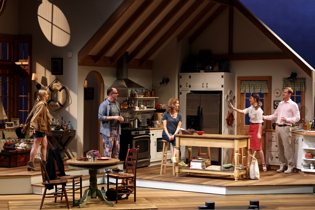 Andrea Syglowski, Rob Nagle, Melanie Lora, Kat Foster and Corey Brill across two set pieces in South Coast Repertory's world premiere of Of Good Stock by Melissa Ross.