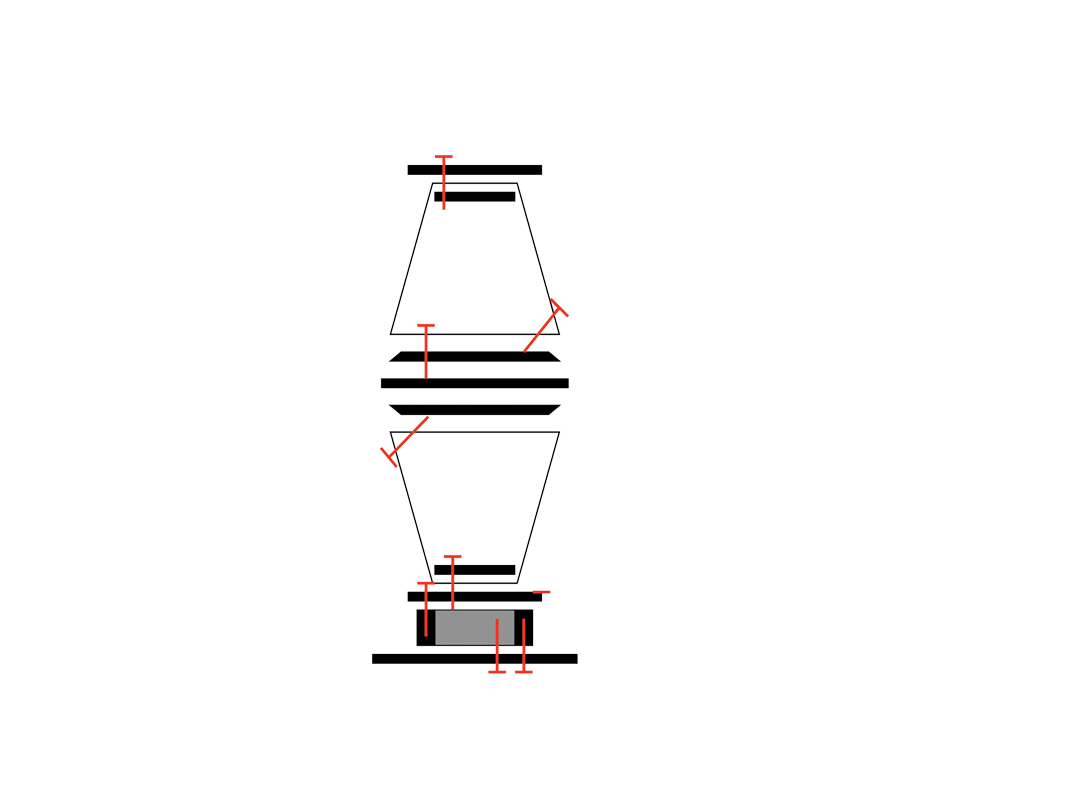An exploded side-view schematic of the pot belly stove in Oklahoma! built using buckets. Red lines indicate the paths of screws.