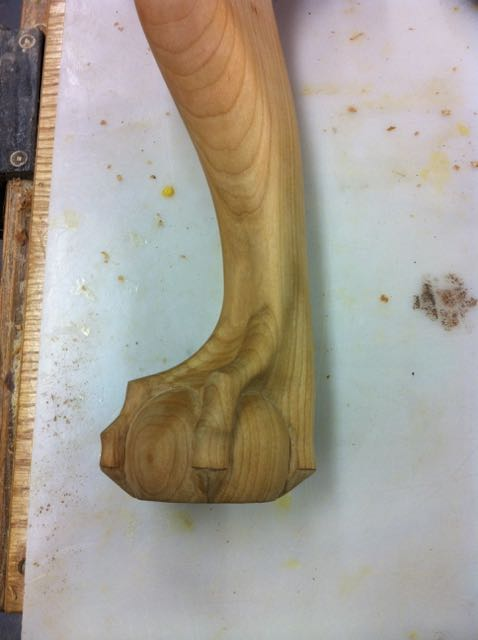 18th Century American furniture reproduction – Ball and Claw foot carving (cherry)