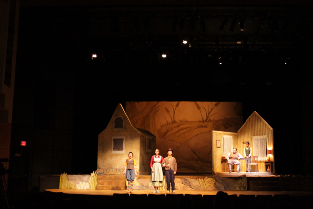 A Year with Frog and Toad at Stephen F. Austin State University. Director: Angela Bacarisse. Scenic Designer: Tara A Houston. Costume Designer: Barbara Blackwell. Lighting Designer: CC Conn. Technical Director: Mark Porter. Props Master: Bud Odom. Photo by: Tara A Houston.