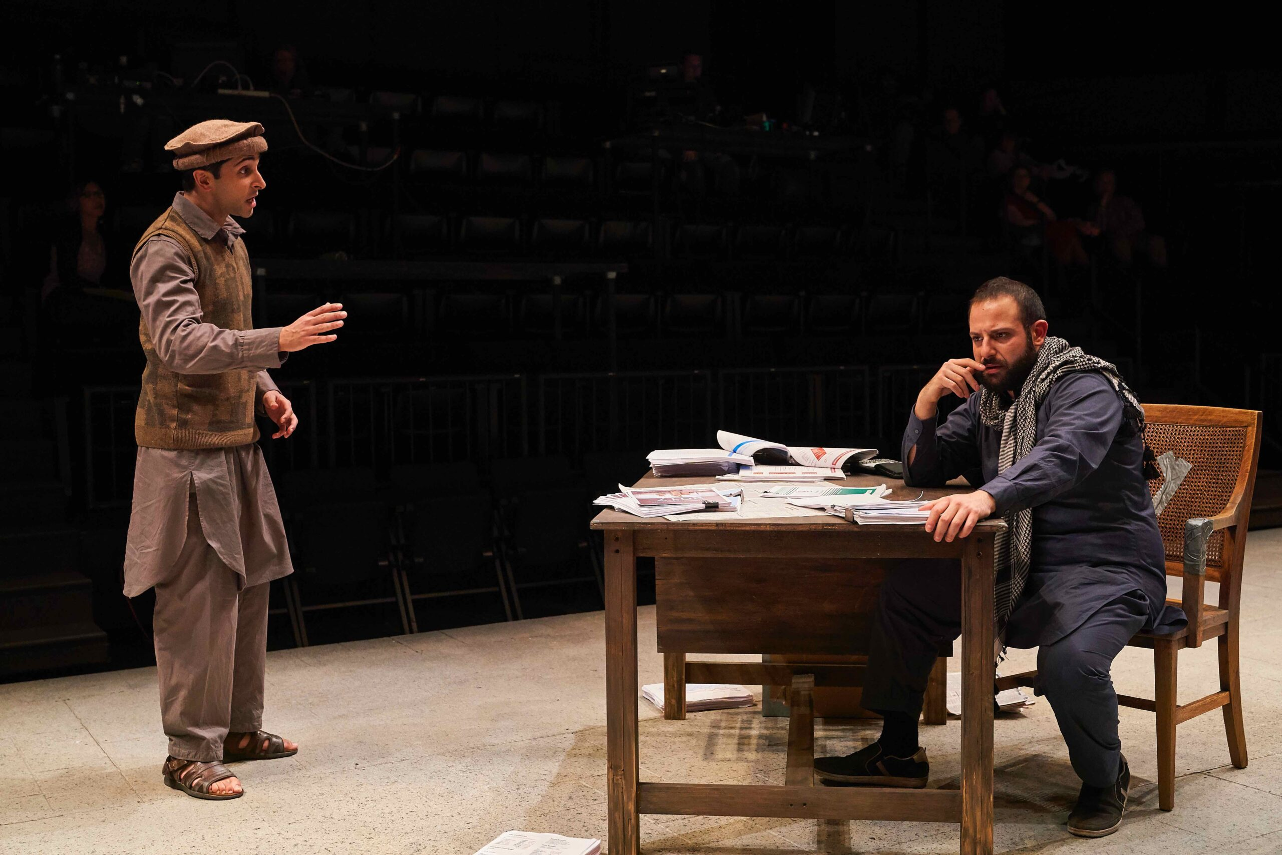 """The Invisible Hand"" by Ayad Akhtar Directed by Pirronne Yousefzadeh Scenic Design by Mikiko Suzuki MacAdams Costume Design by Valérie Thérèse Bart Lighting Design by Michael Boll Sound Design by Daniel Perelstein Photo by Roger Mastroianni Cleveland Play House"