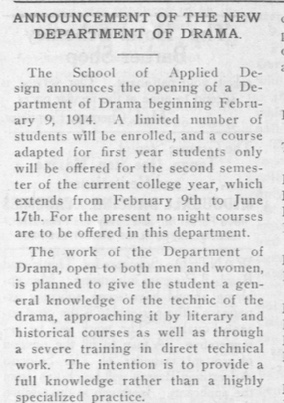 "Screenshot of ""Announcement of the New Department of Drama,"" The Tartan; Vol. 8, No. 15; Carnegie Mellon University; Pittsburgh, PA; January 15, 1914; page 8; digitalcollections.library.cmu.edu; December 17, 2017."