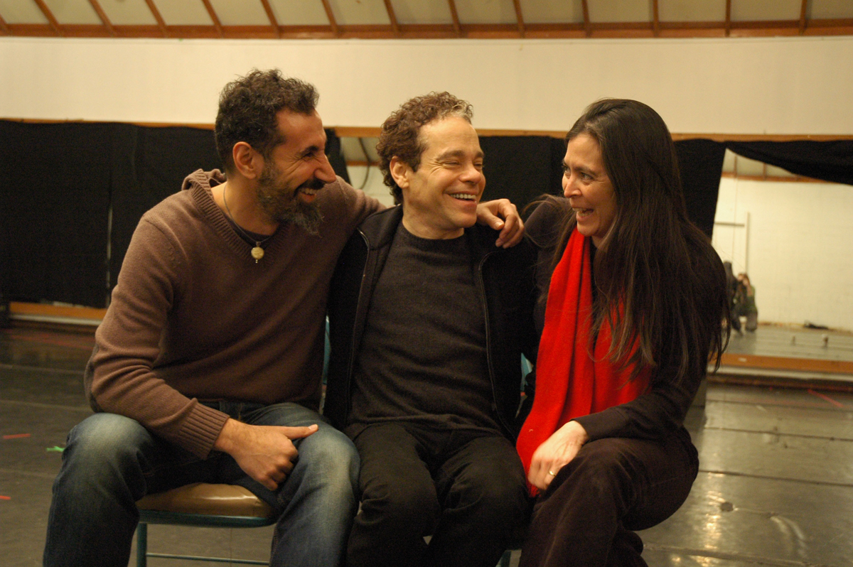 Left to right: Serj Tankian, Steven Sater and Diane Paulus, the core behind Prometheus Bound at American Repertory Theater. Credit: Kati Mitchell
