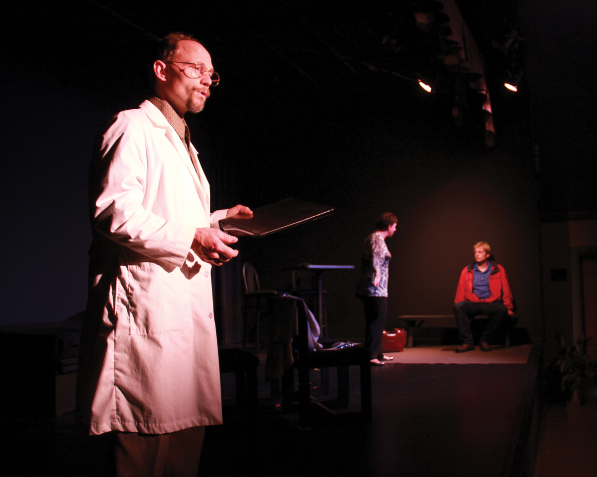 Left to right: Tom Gossett as Dr. Mellis, Aaimee Johnson as Daphne, and Zach Knight as Eddie in the Actors Theatre of Orcas Island production of Torso, by Keri Healey.