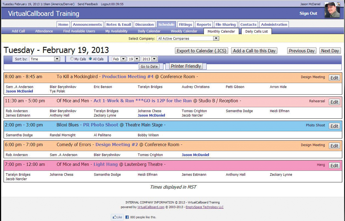 A screenshot from Virtual Callboard, showing all scheduled calls for a day.