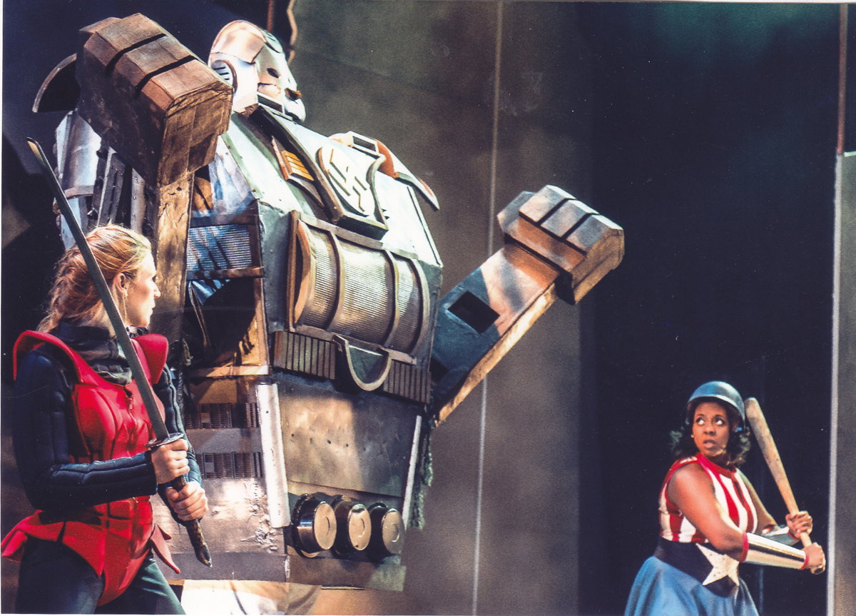 A 9-foot-tall combat robot for War is F**king Awesome at Ohio University  was made possible by introducing  prototypes to the actor throughout  the rehearsal process.