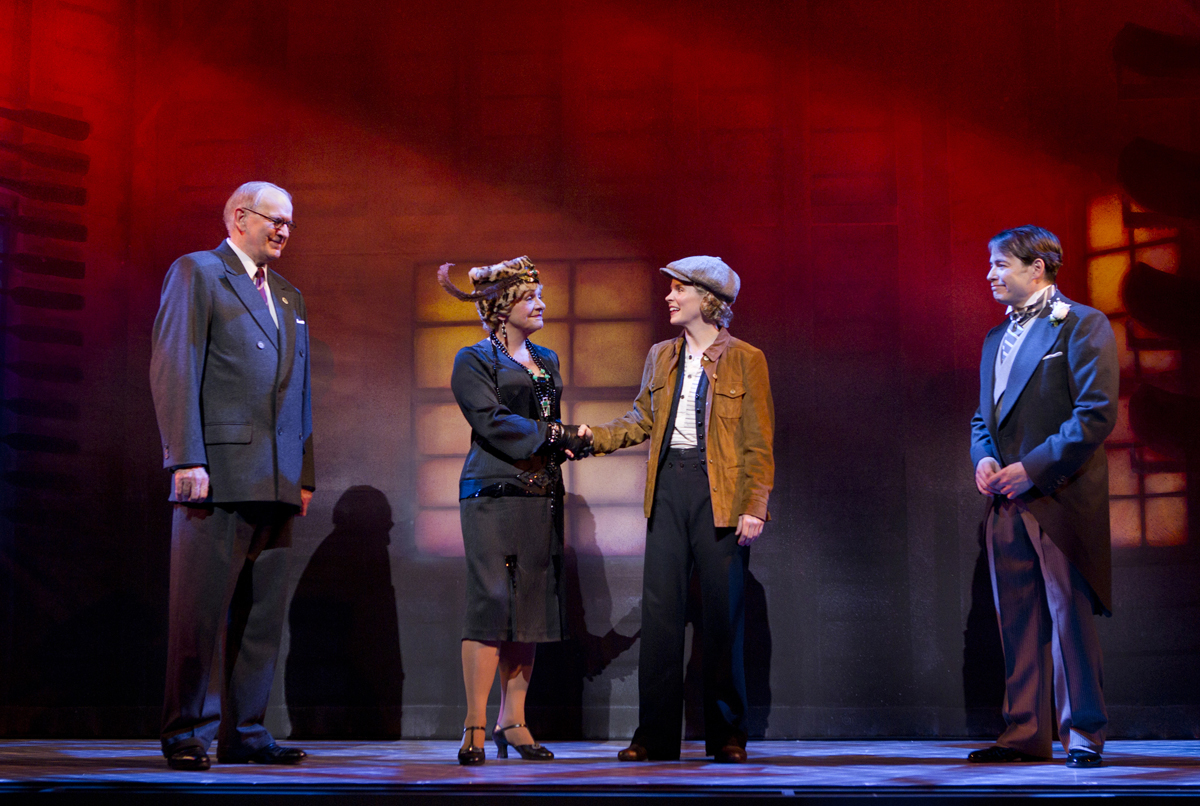 Left-right: Terry Beaver, Estelle Parsons, Kelli O'Hara and Matthew Broderick in the current Broadway revival of Nice Work If You Can Get It, with lighting design by Peter Kaczorowski