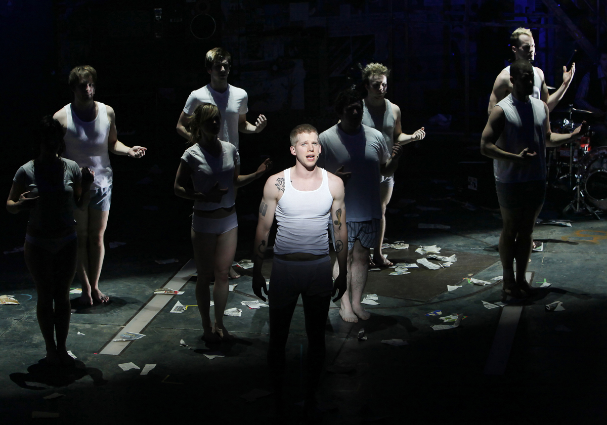 Kevin Adams' Broadway work includes Spring Awakening, Hair and American Idiot, a moment of which is shown here.