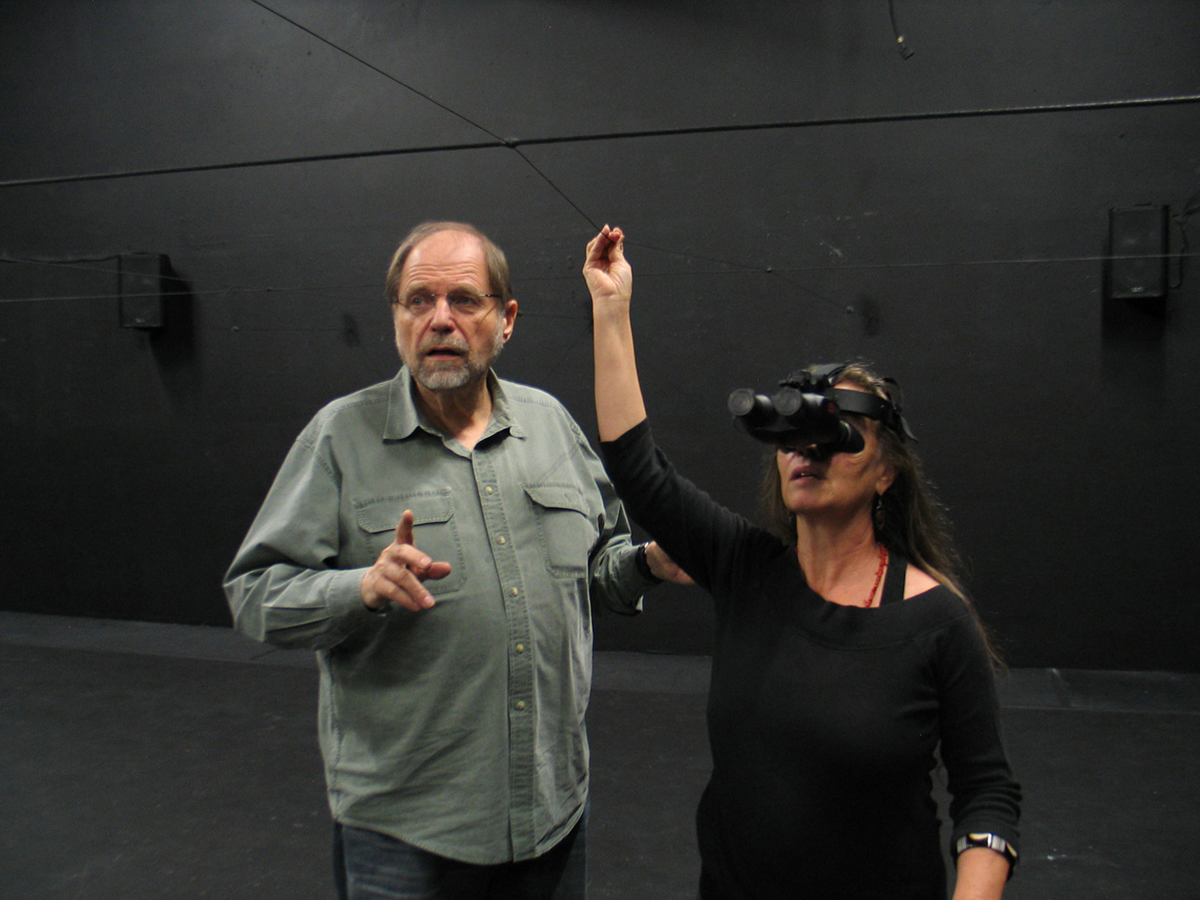 Odyssey Theatre Ensemble Artistic Director Ron Sossi rehearsing with actor Denise Blasor in night goggles