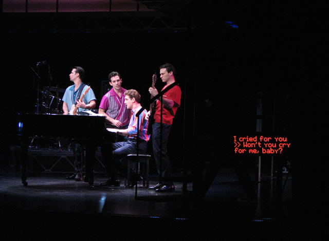 A moment from a TDF Open-Captioned performance of Jersey Boys