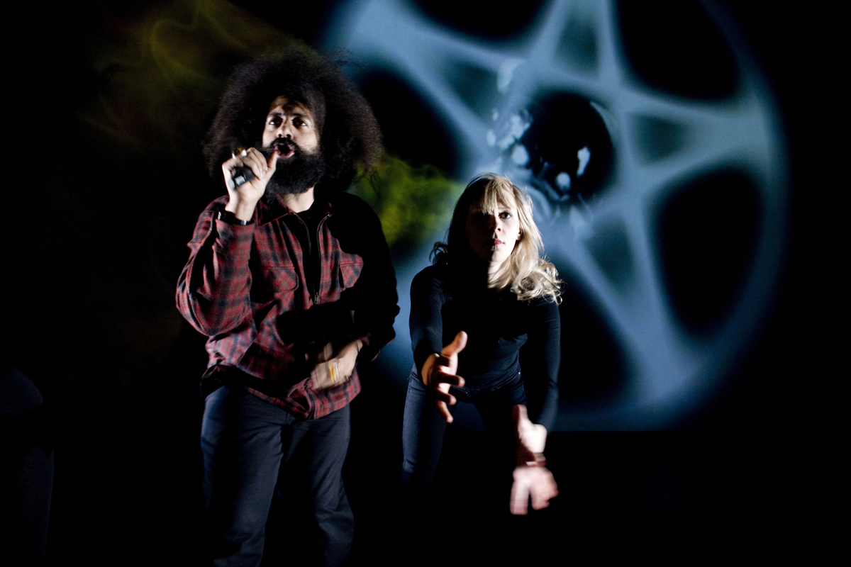 A moment from Transition, created by comedic musician Reggie Watts and playwright/director Tommy Smith