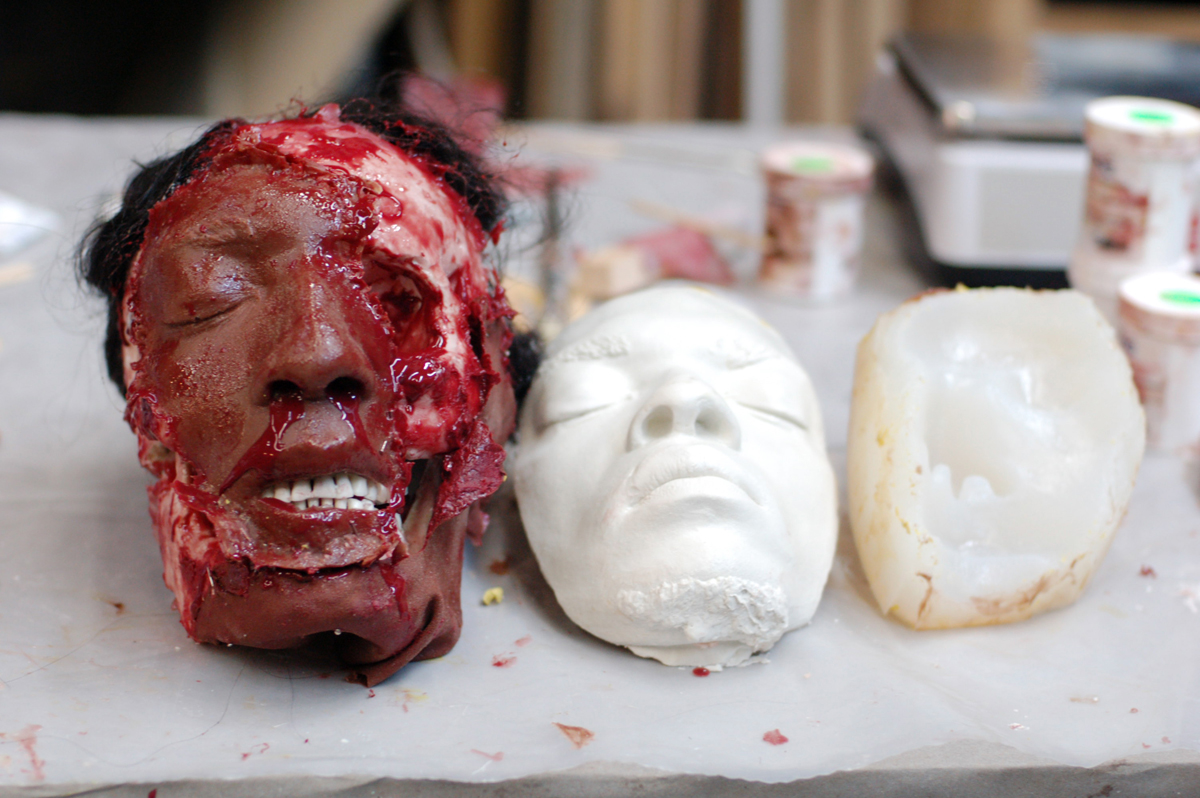 For more realism, the director decided the face of King Pentheus needed to be on the skull, which necessitated taking a plaster cast of the actor's face.