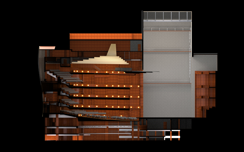 A cross-section of the multi-form theatre at the Orlando Multiform Theatre, designed by Theatre Projects.