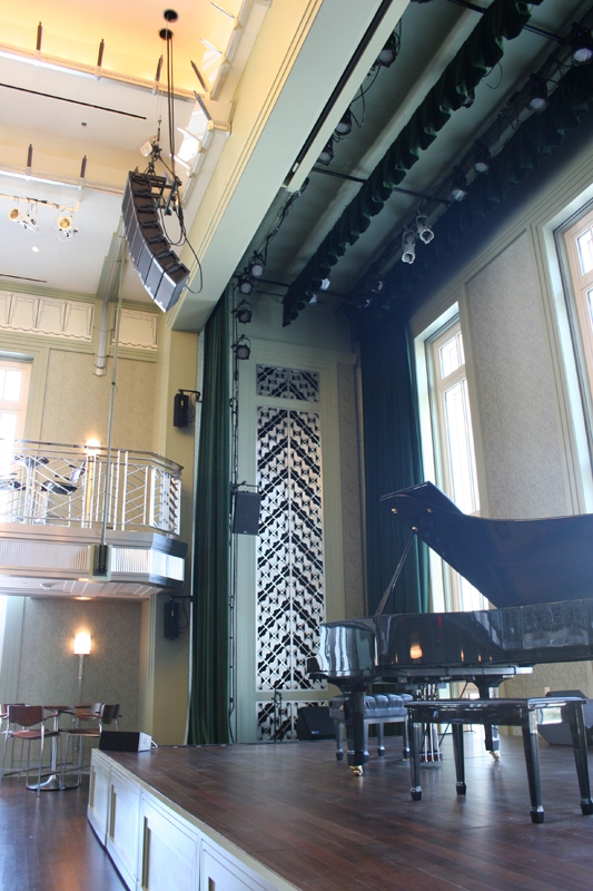 The stage in Cabaret Jazz with a look at the lighting and sound equipment.