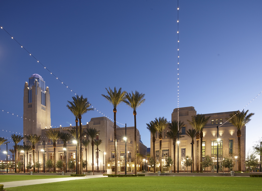 The exterior of the Smith Center for the Performing Arts. Reynolds Hall is on the left, and Boman Pavilion on the right.
