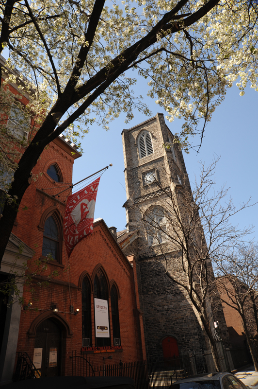 The Atlantic Theater Company's Linda Gross Theater occupies a former church annex built in 1854.