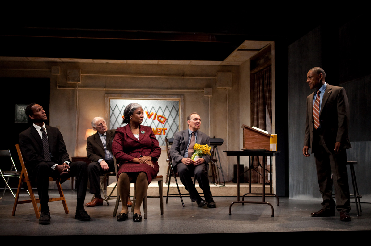 Left to right: Ron Cephas Jones, Bob Dishy, Tonya Pinkins, Zach Grenier and Giancarlo Esposito in Storefront Church by John Patrick Shanley, which was the first production in Atlantic Theater Company's new Linda Gross Theater.