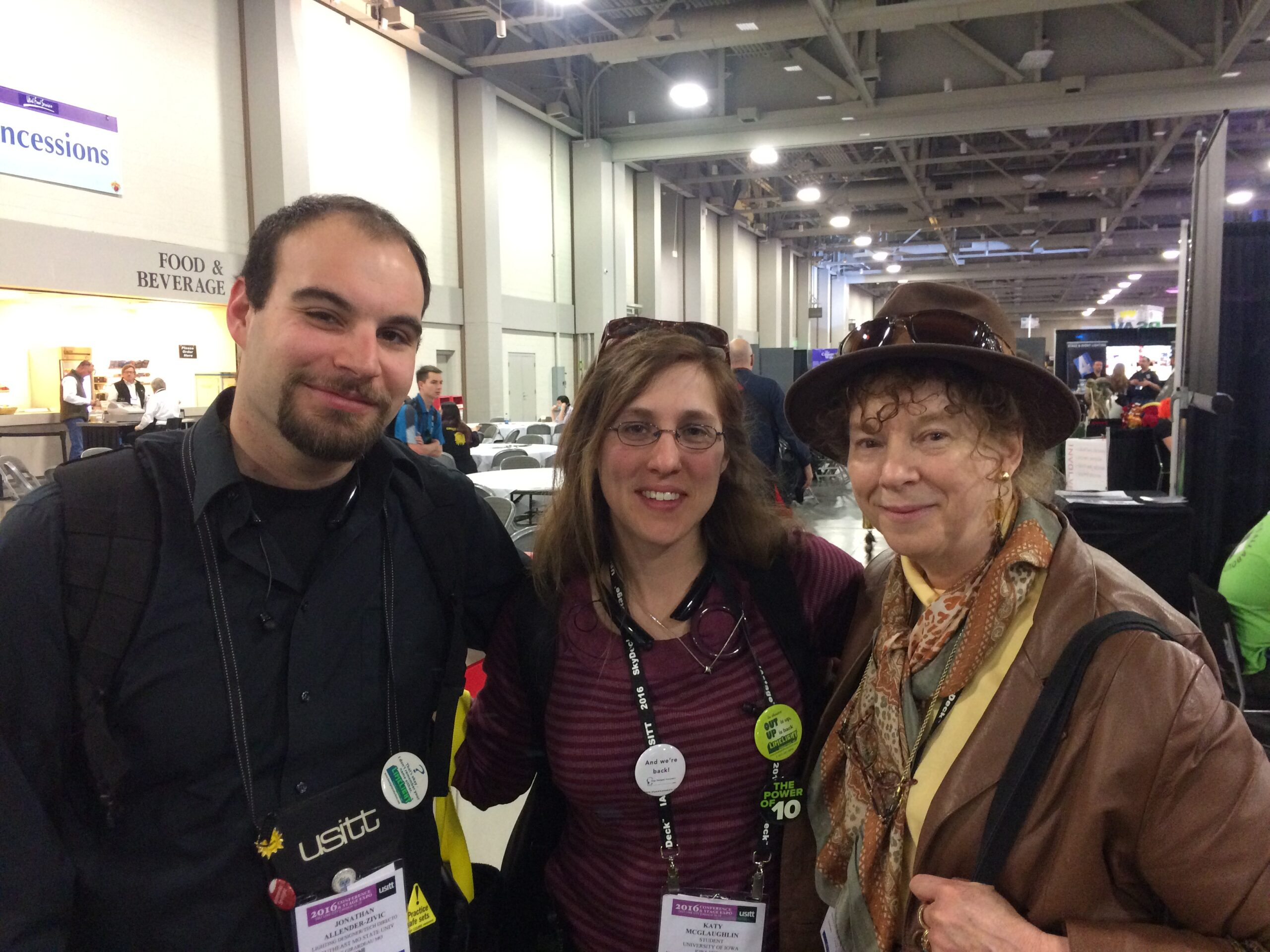 Author attending USITT with Jonathan Allender-Zivic (left) and Stephanie Schoelzel (right)