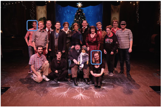 Ryan Heath and the author with their A Christmas Carol family
