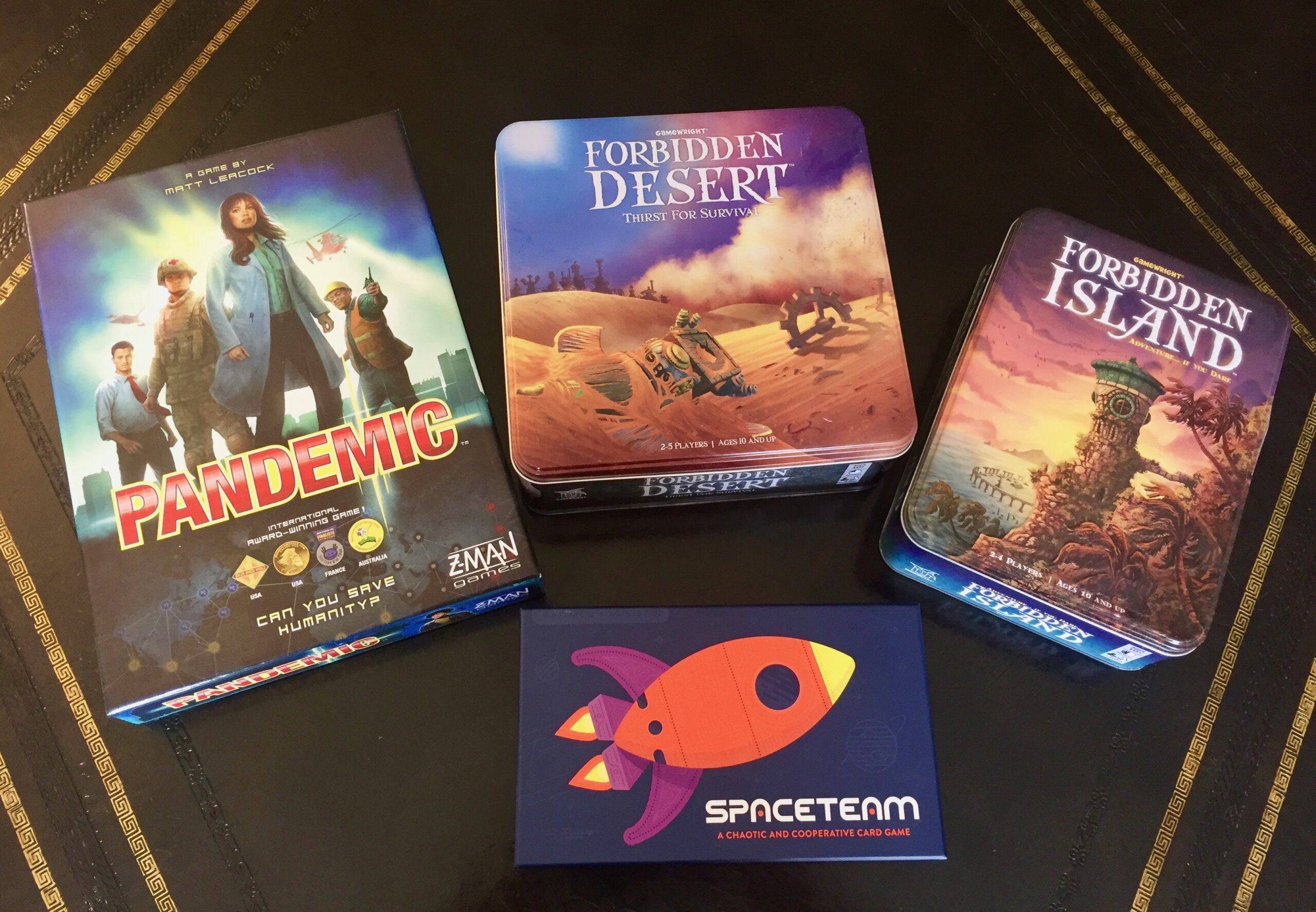 Pandemic, Forbidden Desert, Forbidden Island, and SpaceTeam
